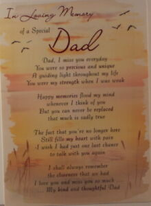 Memorial Grave Card In Loving Memory of a Special Dad 16.5cm