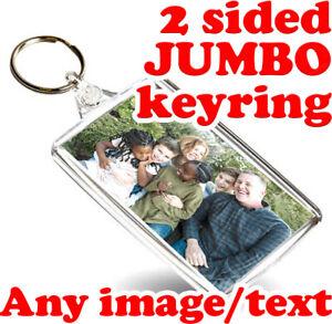 CUSTOM Jumbo 70mm x 45mm Keyrings | Personalised Bespoke Acrylic Keyring Key Fob