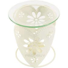 2 x Shabby Chic Cream Floral Heart Tea Light Candle Holder Oil Burners Decor
