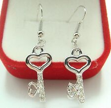 "925 Silver Plated Hook - 2"" Simple Key Crysta Women Sexy Party Earrings g5f7cs"
