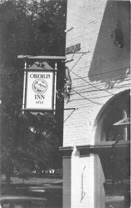 College street sign Oberlin Inn 1948  Postcard Ohio roadside 21-37