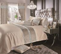 VELVET DIAMONTE RIBBON FAUX SILK BEIGE KING SIZE DUVET COVER
