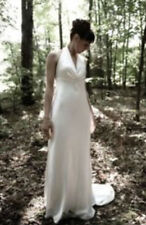 David's Bridal Galina Ivory Halter Charmeuse Wedding Dress, Size 0, Style A9177