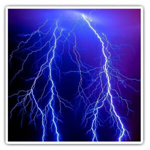 2 x Square Stickers 7.5 cm - Lightning Bolt Weather Storm Cool Gift #8869