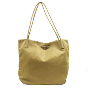 PRADA Handbag Khaki Triangle Logo Tote Bag