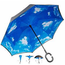 Innovativer umgedrehter Regenschirm mit Sonnen Himmel C-Griff 2-Schicht Membran