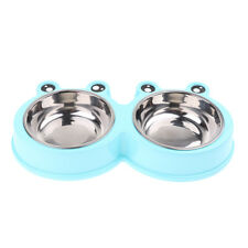 Creative Dog Double Bowl Food Water Dispenser Pet Feeder Dish Plate Plastic