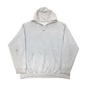 Y2K Nike Silver Tag Center Swoosh Hoodie Pullover Sweater Size XXL 2XL Gray Grey