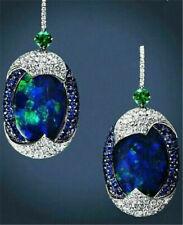 925 Silver Blue Opal Sapphire Woman Ear Hook Hoop Earrings Wedding Jewelry Gifts