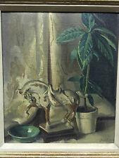 Signed ISRAEL DOSKOW Still Life w/Oriental Horse, Bowl and Plant OIL ON BOARD