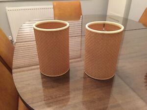 Pair Of Vintage Bastketweave Light Shades 1960/70s Retro