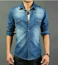 Camicia Uomo Slim Fit Collo regolare Manica Lunga di Jeans S M L XL XXL quality.