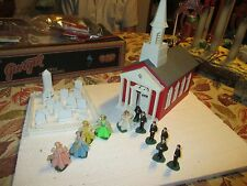Vintage Plasticville Colonial Church - O Scale - with Extras