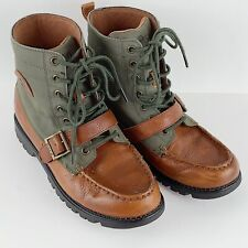 POLO Ranger Boots 97897 Boys Size 6 Leather Textile Upper Green Brown