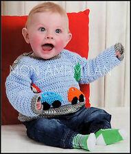 Patrón de ganchillo Suéter De Bebé * * Los bebés * Beep Beep Puente * Coche Motif 0-36 mths