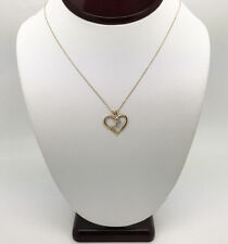 "14K yellow gold 18""  chain with heart pendant diamond charm necklace"