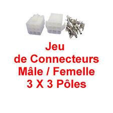 Connecteur Mâle / Femelle 3 X 3 pour câble de 0,5 à 2,1 mm Livré avec Cosses