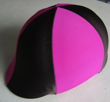 Horse Riding Helmet Cover Hot Pink & Brown AUSTRALIAN MADE Your choice of size