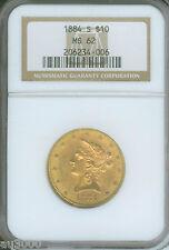 1884-S $10 Liberty Ngc Ms62 Nice Ms-62 Scarce Date !