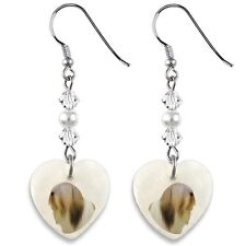 Lhasa Apso Dog 925 Sterling Silver Heart Mother Of Pearl Hooks Earrings Ep207