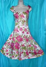 Fuchsia PINK GREEN Floral RETRO Styled Classic SUMMERTIME Party Sun Dress 10