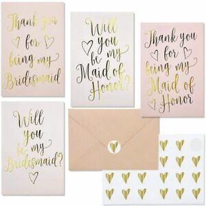 24 Pcs Bridesmaid Invitations & Thank You Cards, Envelopes & Stickers, Gold Foil