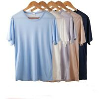 Mens 100% Silk Knitted T-Shirt Short Sleeve Comfort Tee Solid Tops Casual Shirts