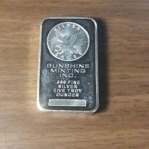 5 Troy OZ ounce Silver Sunshine Minting .999 Eagle BAR