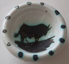 "Pablo PICASSO : ""TAUREAU"" - ORIGINAL CERAMIC # MADOURA RAMIE 177 # 1952 Ashtray"
