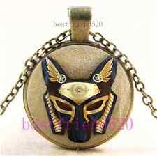 Vintage Steampunk Anubis Cabochon Glass Bronze Chain Pendant Necklace