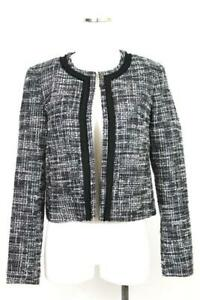 womens gray black tipped ANN TAYLOR blazer jacket open front textured career S 6