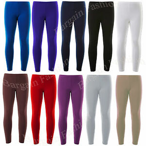 KIDS GIRLS ANKLE LENGTH STRETCH FIT COTTON ASSORTED COLOURS LEGGINGS 2-15 YEARS