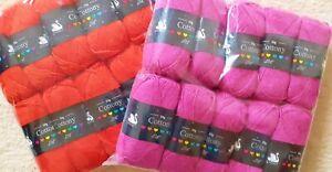 10 x 50g balls Cygnet DK Cottony crochet knitting yarn / wool Pink or Red