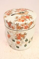 Beautiful Porcelain Round Jar Tobacco Jar Bird in Tree Scene Autumn Colors 6""