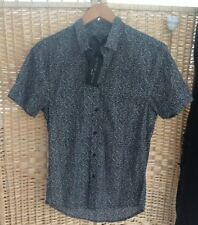 NEW LOOK MEN Mens XS Smart Shirt Short-Sleeved Black White Petal Print BNWT