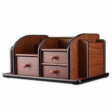Flexzion Wooden Desk Organizer w/Drawers - Classic Wood Office Supplies