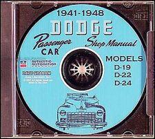 Dodge Auto CD Rom Manuale di Negozio 1941 1942 1946 1947 1948 Servizio
