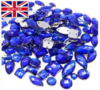 Crystals Blue Rhinestones trim Flat Back sewing 2 Hole Stones Resin Beads