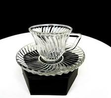 "FEDERAL GLASS DIANA CLEAR SWIRL DESIGN 2"" DEMITASSE CUP & SAUCER 1937-1941"