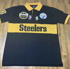 Klew NFL Pittsburgh Steelers Rugby Polo Short Sleeve Shirt Men's New Size L