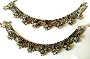 Women's Antique Rare Silver Anklet Traditional Bridal Wear Ruby & Emerald Payal
