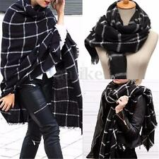 Women Winter Warm Long Cashmere Plaid Pashmina Shawl Scarf Stoles Wrap Blanket