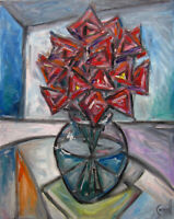 Glass Vase of Roses Cubism painting canvas 16x20 original art signed Crowell US