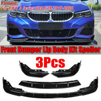 For BMW 3 Series G20 G28 2019 2020 3PCS Bright Front Bumper Lip Body Kit Spoiler