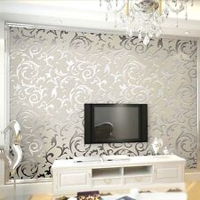 3D Victorian Damask Luxury Embossed Wallpaper Wall Paper Roll Silver Grey Design
