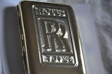 Cigarette Case Metal 24K Gold Plated Rolls Royce Luxury Car Logo Gift Box