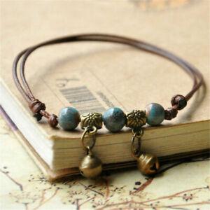 Vintage Bell Charm Anklet Bracelet Ceramic Beads Weave Rope Foot Chain Bangle