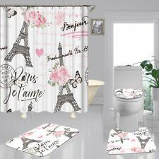 Eiffel Tower NonSlip Door BathMat Toilet Cover Rug Shower Curtain Bathroom Decor