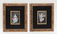 "Pair Antique/Vtg 14"" Signed Black Velvet Gold Wood Figural Wall Pictures FRANCE"
