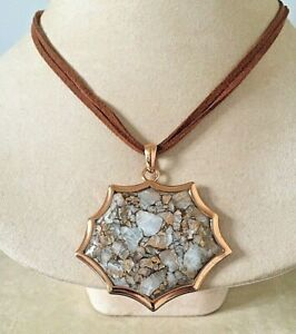 New Barse Necklace Genuine Leather & White Calcite infused w/ molten Copper